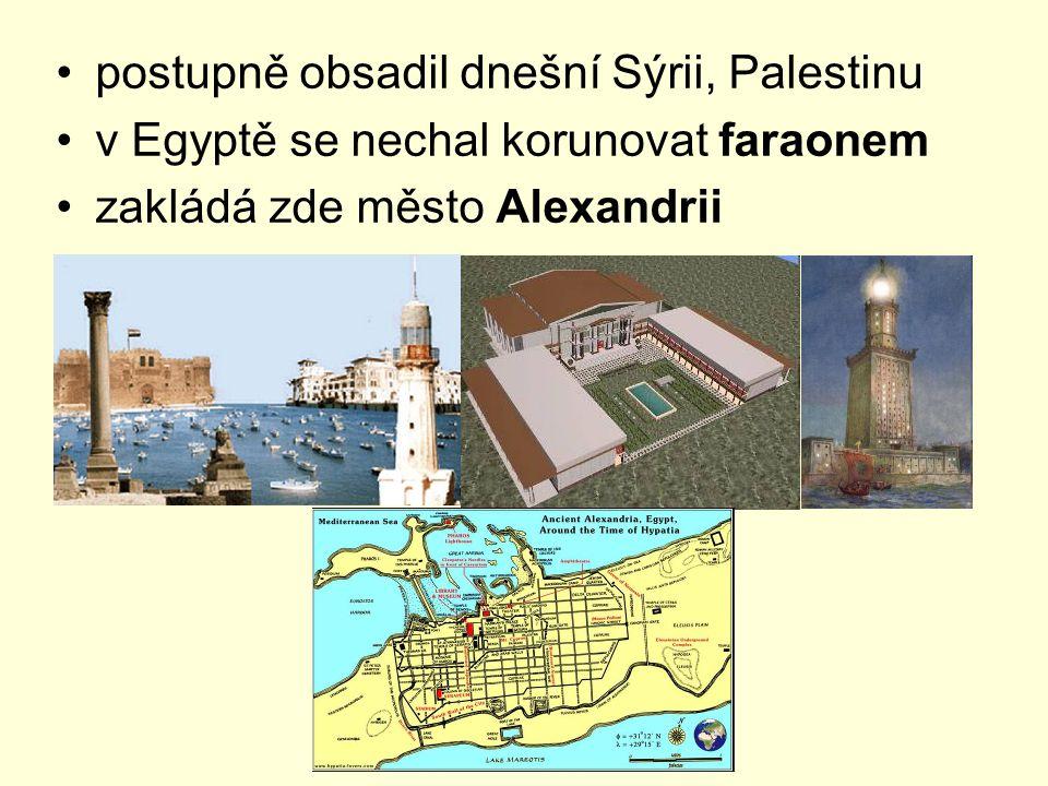 postupně obsadil dnešní Sýrii, Palestinu v Egyptě se nechal korunovat faraonem zakládá zde město Alexandrii