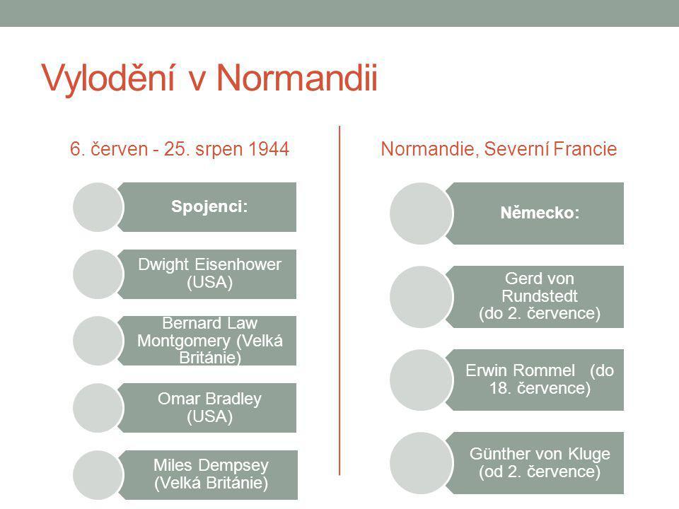 Vylodění v Normandii 6. červen - 25. srpen 1944 Spojenci: Dwight Eisenhower (USA) Bernard Law Montgomery (Velká Británie) Omar Bradley (USA) Miles Dem