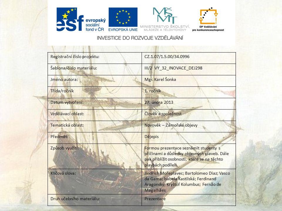 Registrační číslo projektu:CZ.1.07/1.5.00/34.0996 Šablona/číslo materiálu:III/2 VY_32_INOVACE_DEJ298 Jméno autora:Mgr.