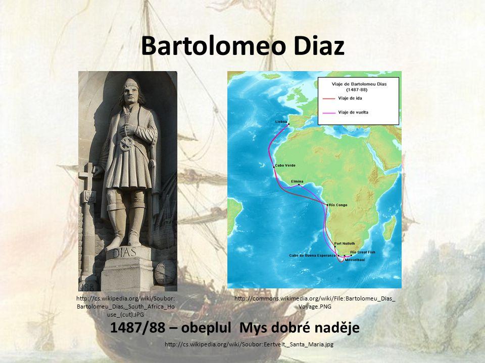 Bartolomeo Diaz 1487/88 – obeplul Mys dobré naděje http://cs.wikipedia.org/wiki/Soubor:Eertvelt,_Santa_Maria.jpg http://cs.wikipedia.org/wiki/Soubor: Bartolomeu_Dias,_South_Africa_Ho use_(cut).JPG http://commons.wikimedia.org/wiki/File:Bartolomeu_Dias_ Voyage.PNG