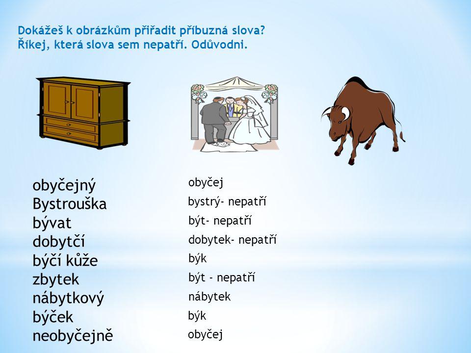Dokážeš k obrázkům přiřadit příbuzná slova? Říkej, která slova sem nepatří. Odůvodni. obyčejný Bystrouška bývat dobytčí býčí kůže zbytek nábytkový býč