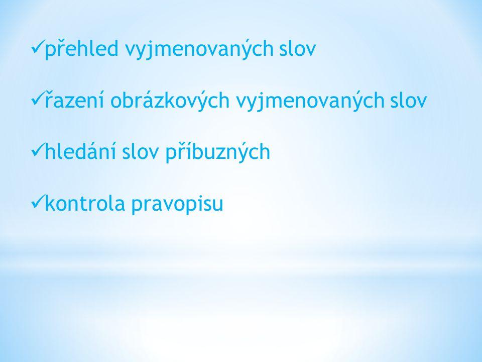přehled vyjmenovaných slov řazení obrázkových vyjmenovaných slov hledání slov příbuzných kontrola pravopisu