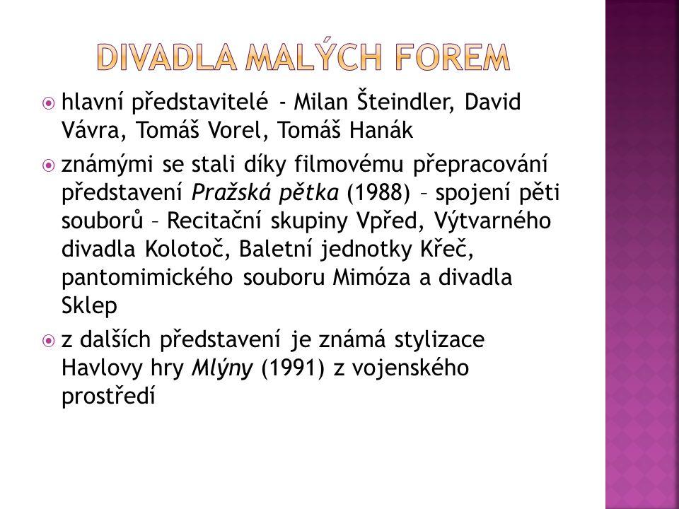  hlavní představitelé - Milan Šteindler, David Vávra, Tomáš Vorel, Tomáš Hanák  známými se stali díky filmovému přepracování představení Pražská pět