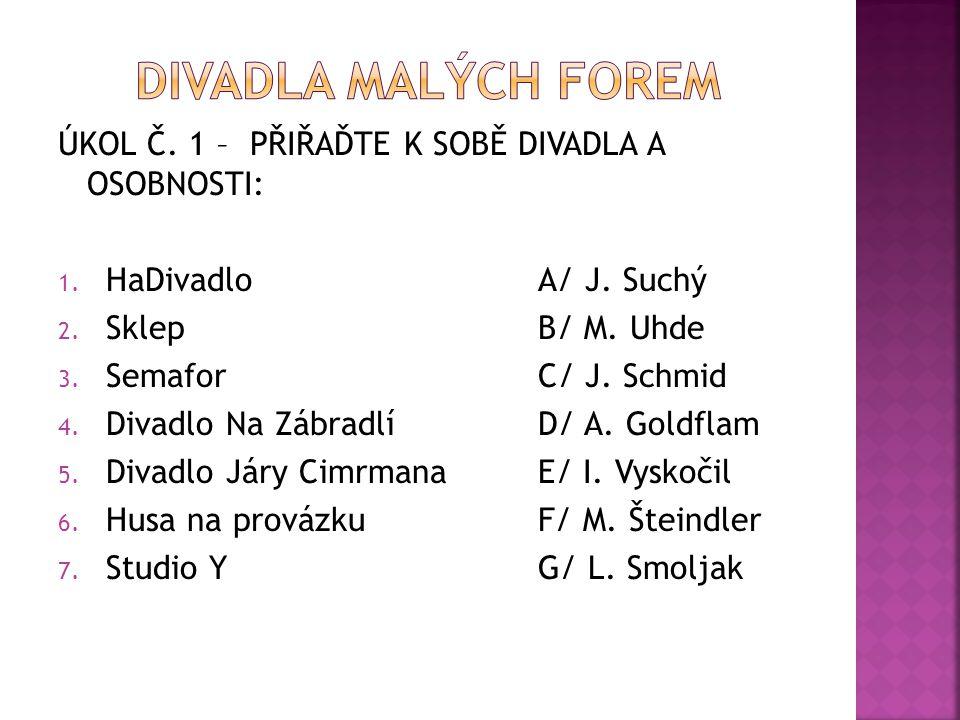ÚKOL Č. 1 – PŘIŘAĎTE K SOBĚ DIVADLA A OSOBNOSTI: 1. HaDivadloA/ J. Suchý 2. SklepB/ M. Uhde 3. SemaforC/ J. Schmid 4. Divadlo Na ZábradlíD/ A. Goldfla