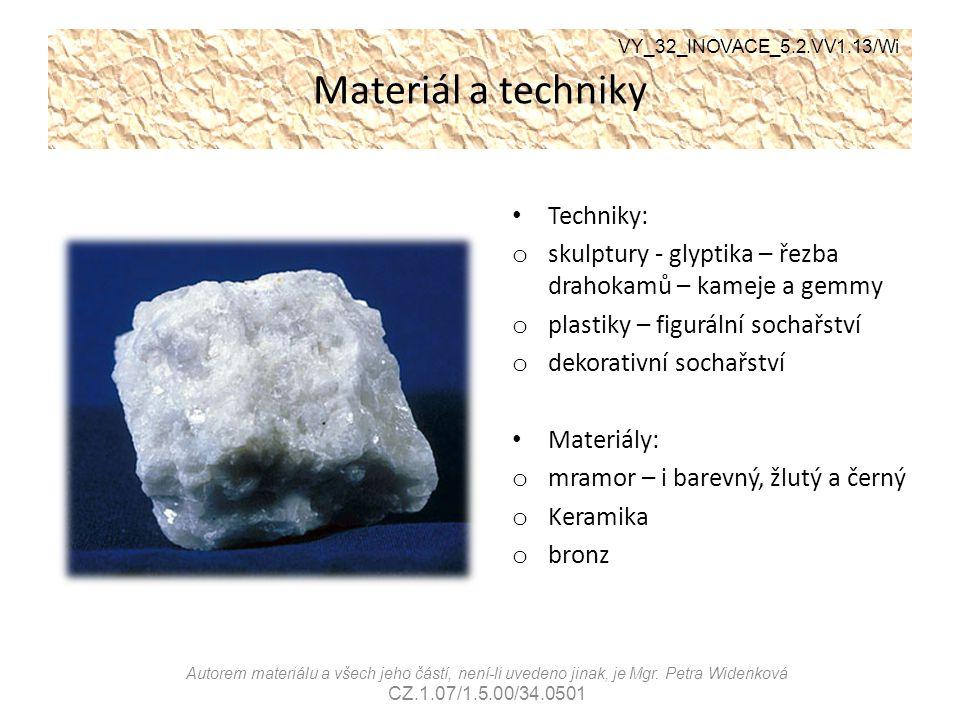 Materiál a techniky Techniky: o skulptury - glyptika – řezba drahokamů – kameje a gemmy o plastiky – figurální sochařství o dekorativní sochařství Mat
