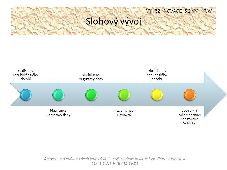 Slohový vývoj VY_32_INOVACE_5.2.VV1.13/Wi Autorem materiálu a všech jeho částí, není-li uvedeno jinak, je Mgr. Petra Widenková CZ.1.07/1.5.00/34.0501