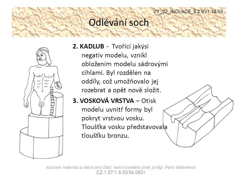Odlévání soch 2. KADLUB - Tvořící jakýsi negativ modelu, vznikl obložením modelu sádrovými cihlami. Byl rozdělen na oddíly, což umožňovalo jej rozebra
