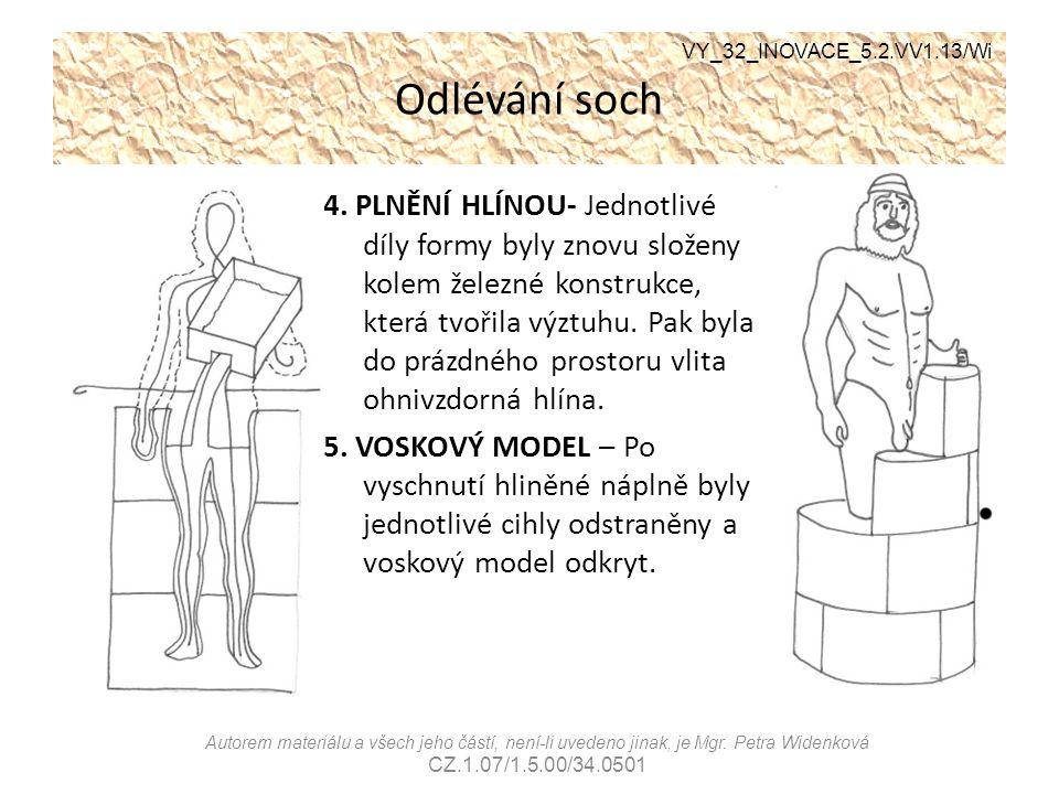 Odlévání soch 4. PLNĚNÍ HLÍNOU- Jednotlivé díly formy byly znovu složeny kolem železné konstrukce, která tvořila výztuhu. Pak byla do prázdného prosto
