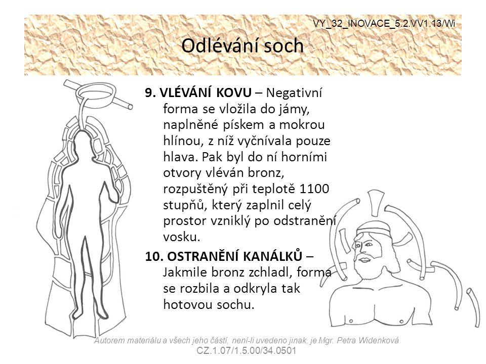 Odlévání soch 9. VLÉVÁNÍ KOVU – Negativní forma se vložila do jámy, naplněné pískem a mokrou hlínou, z níž vyčnívala pouze hlava. Pak byl do ní horním