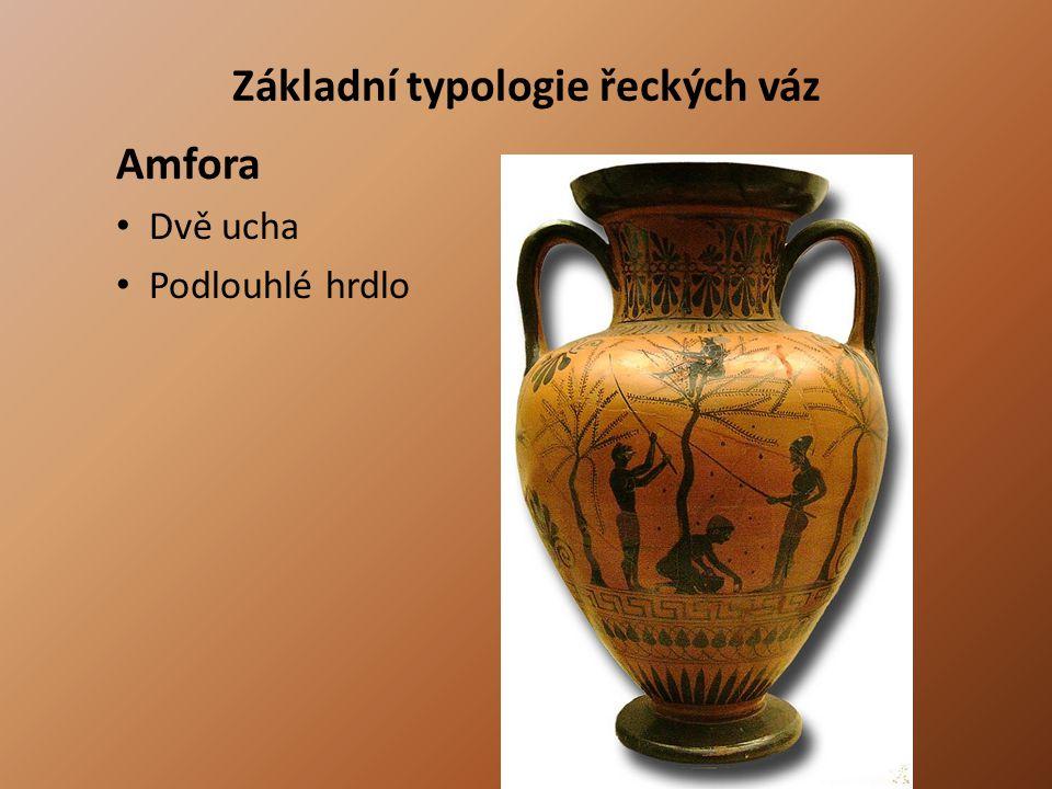 Základní typologie řeckých váz Amfora Dvě ucha Podlouhlé hrdlo