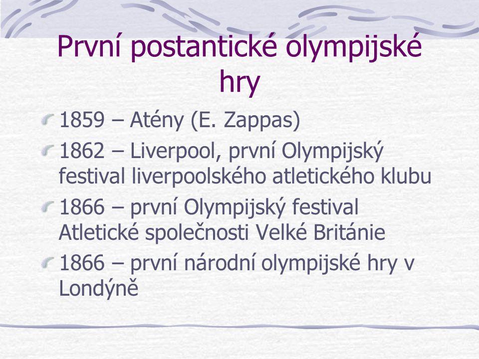 """První postantické olympijské hry 1604 – 1857 Cotswoldské """"Olympick Games"""" (R. Dover) – obnovené 1952 1839 – Švédsko 1844 – Montreal 1849 – W. P. Brook"""