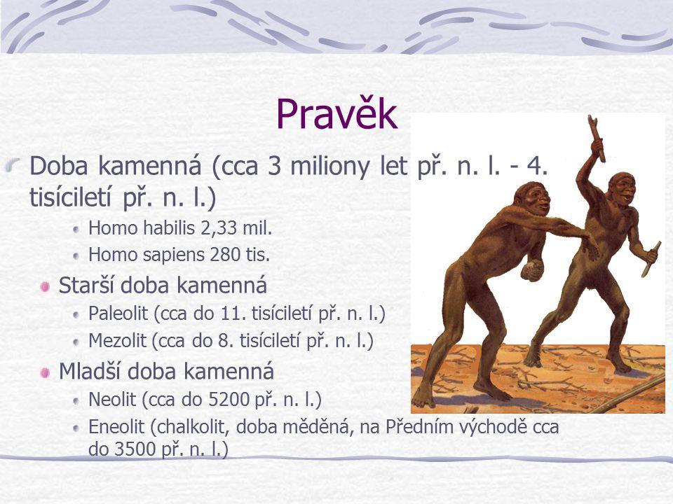 Časová osa Pravěk3 mil. – 3500 př.n.l. Starověk- 5. stol n.l. Středověk- 15. stol n.l. Novověk- 18.-20. stol. n.l. Moderní dějiny- současnost