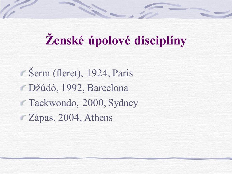 Otázky k ženským úpolovým disciplínám Jaká je historie ženských úpolových disciplín na OH? Co zjistíme z porovnání ženských a mužských disciplín? Jaká