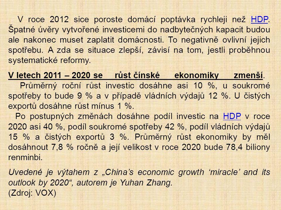 V roce 2012 sice poroste domácí poptávka rychleji než HDP. Špatné úvěry vytvořené investicemi do nadbytečných kapacit budou ale nakonec muset zaplatit