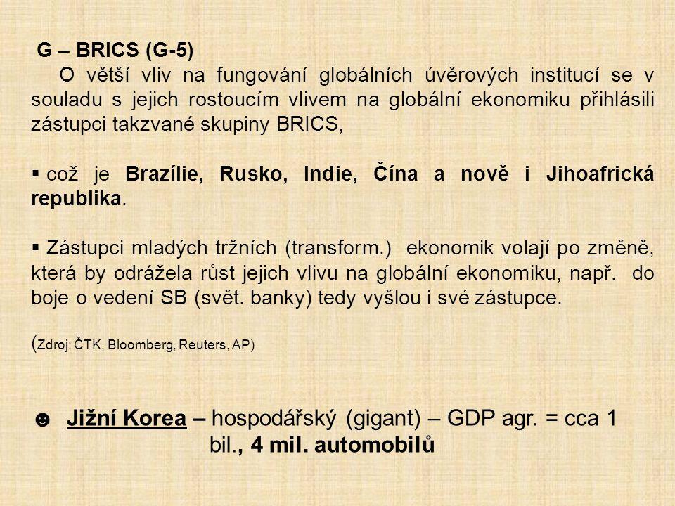 G – BRICS (G-5) O větší vliv na fungování globálních úvěrových institucí se v souladu s jejich rostoucím vlivem na globální ekonomiku přihlásili zástu