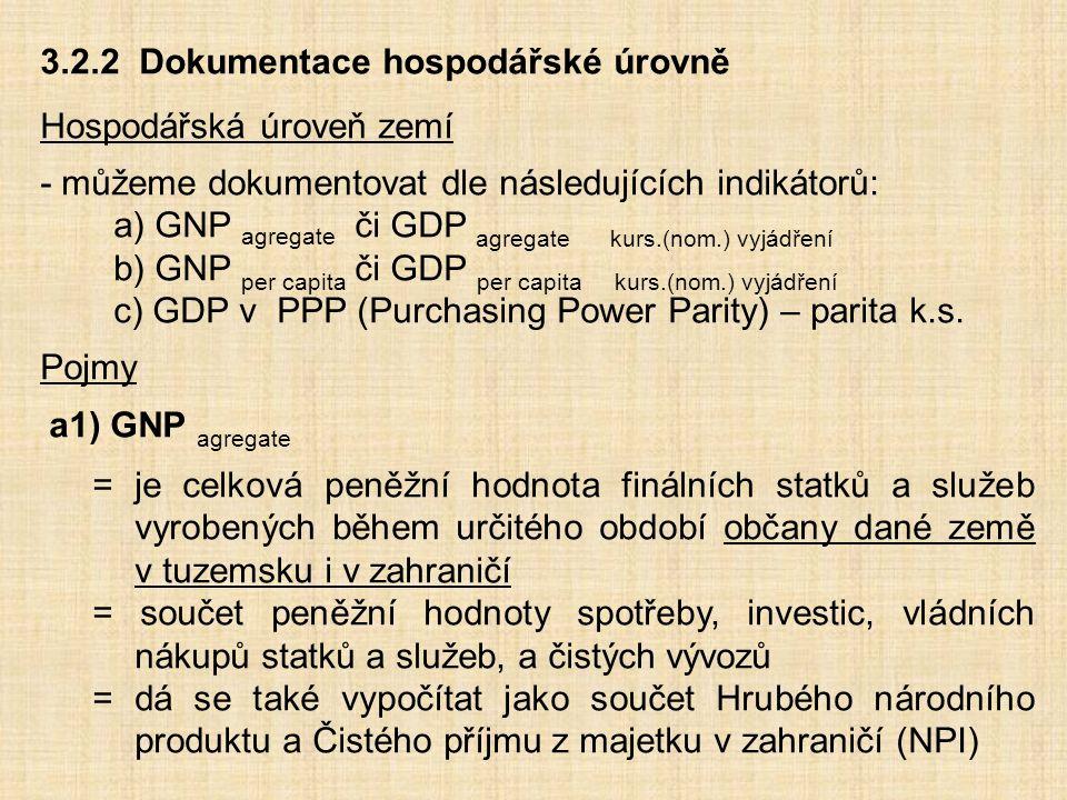 3.2.2 Dokumentace hospodářské úrovně Hospodářská úroveň zemí - můžeme dokumentovat dle následujících indikátorů: a) GNP agregate či GDP agregate kurs.