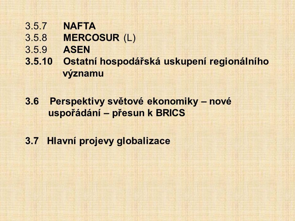 3.5.7 NAFTA 3.5.8 MERCOSUR (L) 3.5.9 ASEN 3.5.10 Ostatní hospodářská uskupení regionálního významu 3.6 Perspektivy světové ekonomiky – nové uspořádání