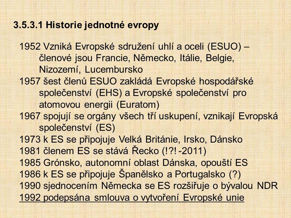 3.5.3.1 Historie jednotné evropy 1952 Vzniká Evropské sdružení uhlí a oceli (ESUO) – členové jsou Francie, Německo, Itálie, Belgie, Nizozemí, Lucembur