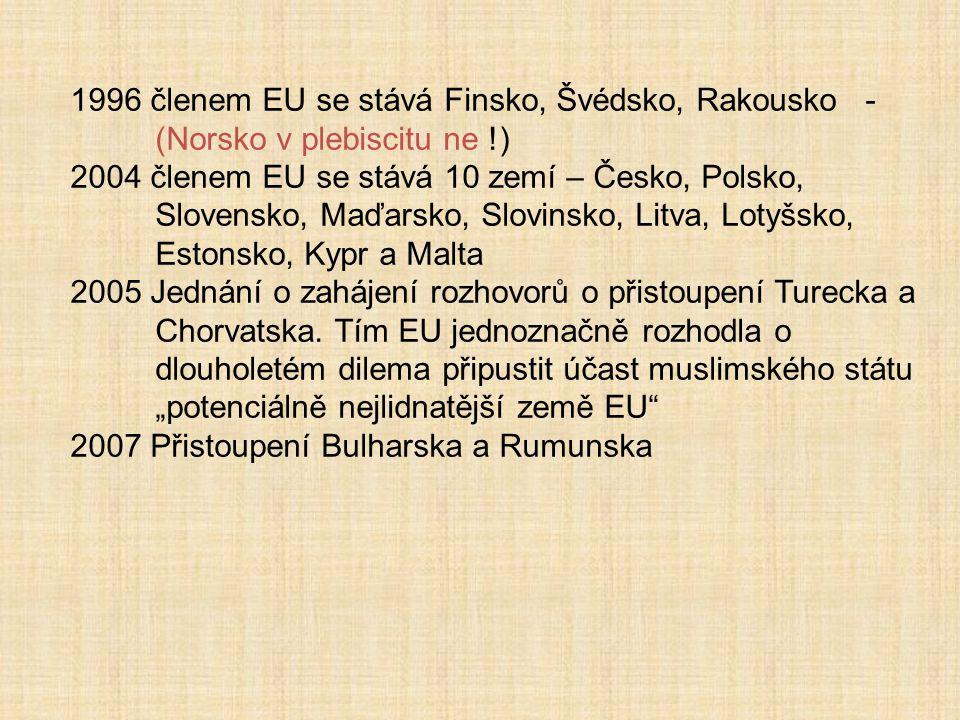 1996 členem EU se stává Finsko, Švédsko, Rakousko - (Norsko v plebiscitu ne !) 2004 členem EU se stává 10 zemí – Česko, Polsko, Slovensko, Maďarsko, S