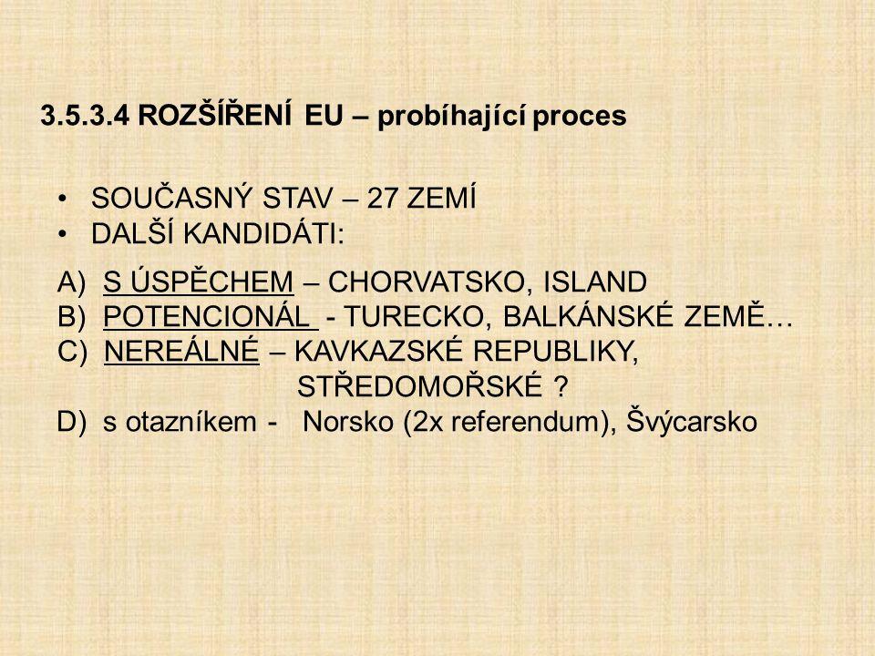 3.5.3.4 ROZŠÍŘENÍ EU – probíhající proces SOUČASNÝ STAV – 27 ZEMÍ DALŠÍ KANDIDÁTI: A) S ÚSPĚCHEM – CHORVATSKO, ISLAND B) POTENCIONÁL - TURECKO, BALKÁN