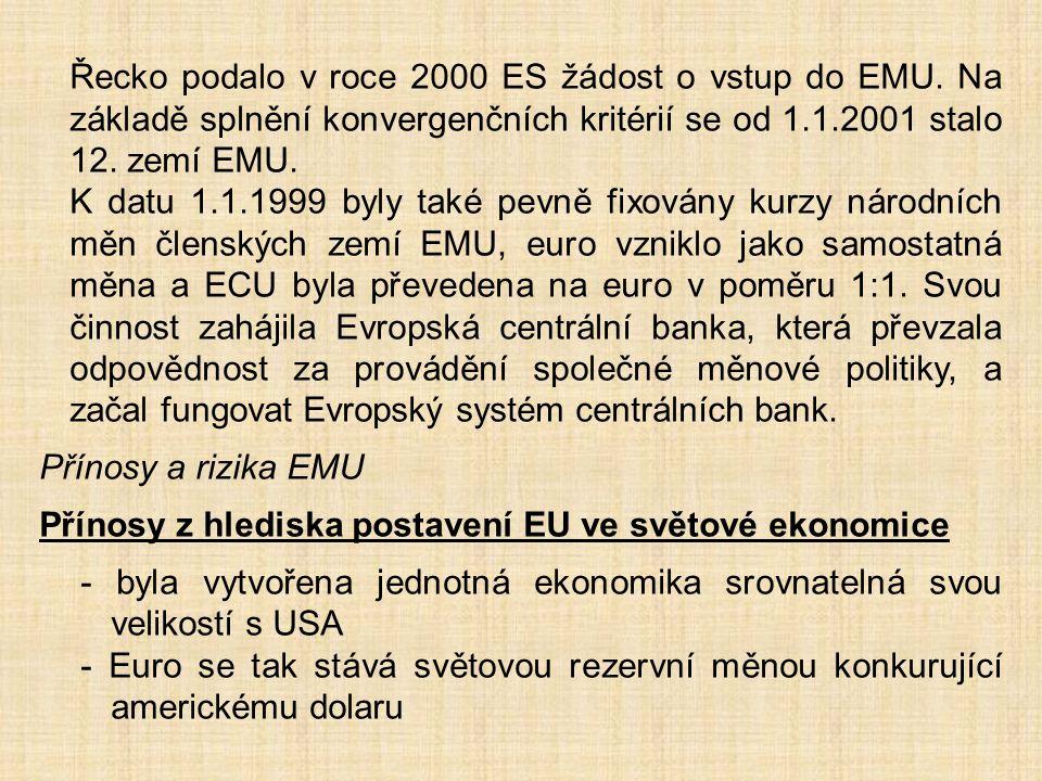 Řecko podalo v roce 2000 ES žádost o vstup do EMU. Na základě splnění konvergenčních kritérií se od 1.1.2001 stalo 12. zemí EMU. K datu 1.1.1999 byly