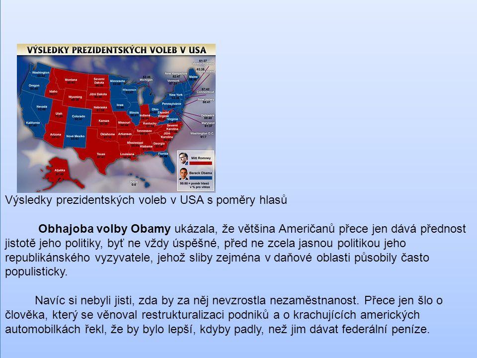 Výsledky prezidentských voleb v USA s poměry hlasů Obhajoba volby Obamy ukázala, že většina Američanů přece jen dává přednost jistotě jeho politiky, b