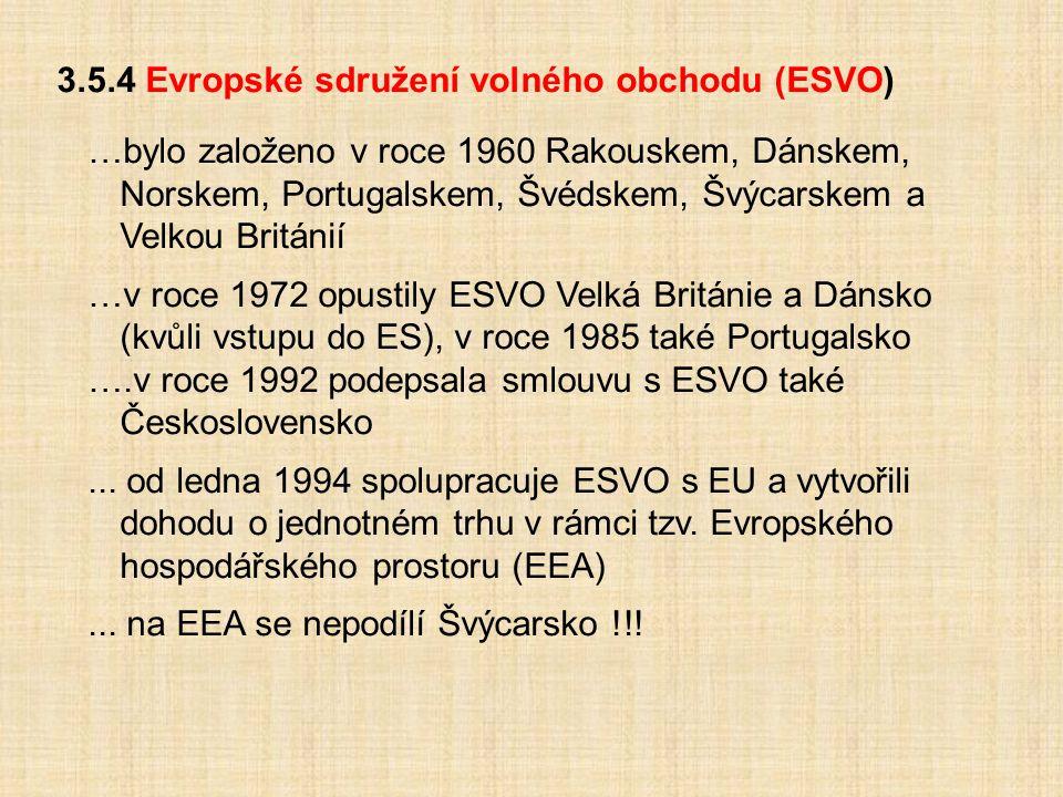 3.5.4 Evropské sdružení volného obchodu (ESVO) …bylo založeno v roce 1960 Rakouskem, Dánskem, Norskem, Portugalskem, Švédskem, Švýcarskem a Velkou Bri