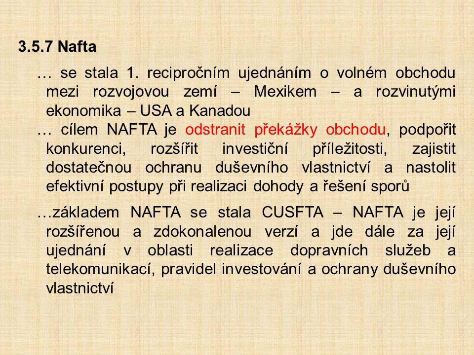 3.5.7 Nafta … se stala 1. recipročním ujednáním o volném obchodu mezi rozvojovou zemí – Mexikem – a rozvinutými ekonomika – USA a Kanadou … cílem NAFT