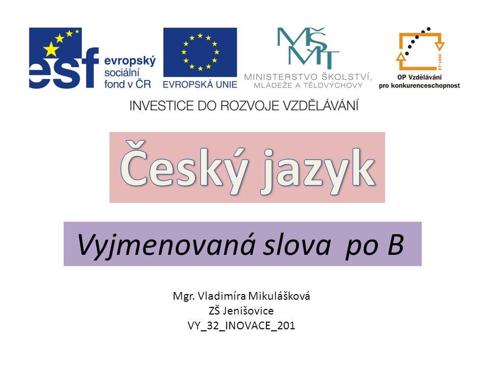 Vyjmenovaná slova po B Mgr. Vladimíra Mikulášková ZŠ Jenišovice VY_32_INOVACE_201