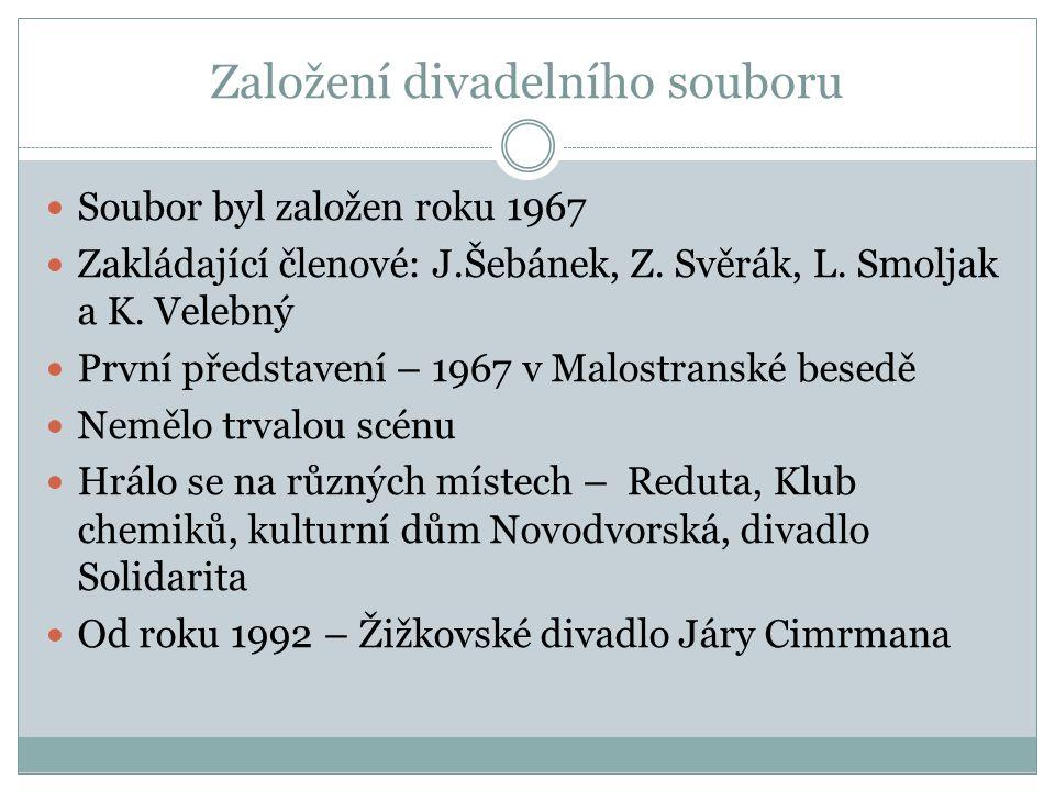 Založení divadelního souboru Soubor byl založen roku 1967 Zakládající členové: J.Šebánek, Z.