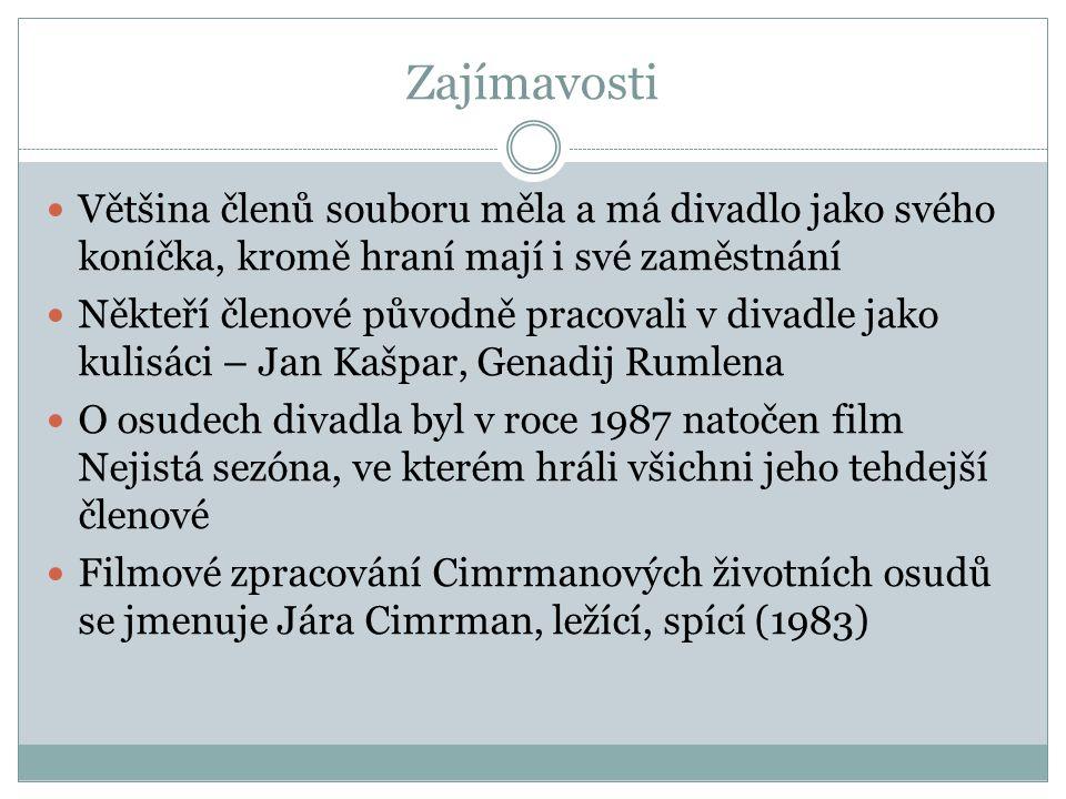 Zajímavosti Většina členů souboru měla a má divadlo jako svého koníčka, kromě hraní mají i své zaměstnání Někteří členové původně pracovali v divadle jako kulisáci – Jan Kašpar, Genadij Rumlena O osudech divadla byl v roce 1987 natočen film Nejistá sezóna, ve kterém hráli všichni jeho tehdejší členové Filmové zpracování Cimrmanových životních osudů se jmenuje Jára Cimrman, ležící, spící (1983)
