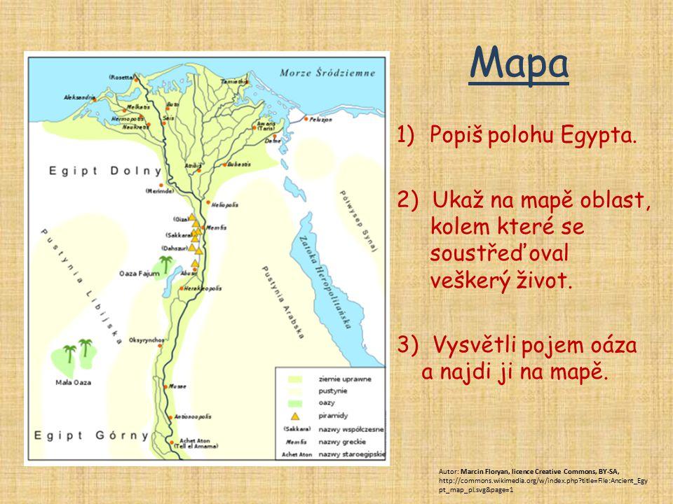 Mapa 1)Popiš polohu Egypta. 2) Ukaž na mapě oblast, kolem které se soustřeďoval veškerý život. 3) Vysvětli pojem oáza a najdi ji na mapě. Autor: Marci
