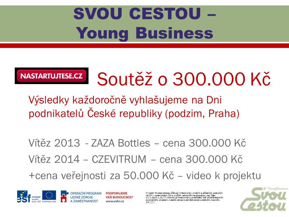 Soutěž o 300.000 Kč Výsledky každoročně vyhlašujeme na Dni podnikatelů České republiky (podzim, Praha) Vítěz 2013 - ZAZA Bottles – cena 300.000 Kč Vít
