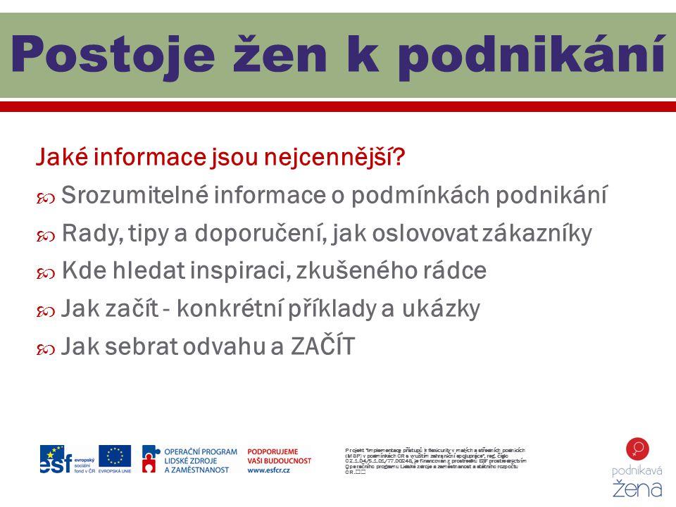 Jaké informace jsou nejcennější?  Srozumitelné informace o podmínkách podnikání  Rady, tipy a doporučení, jak oslovovat zákazníky  Kde hledat inspi