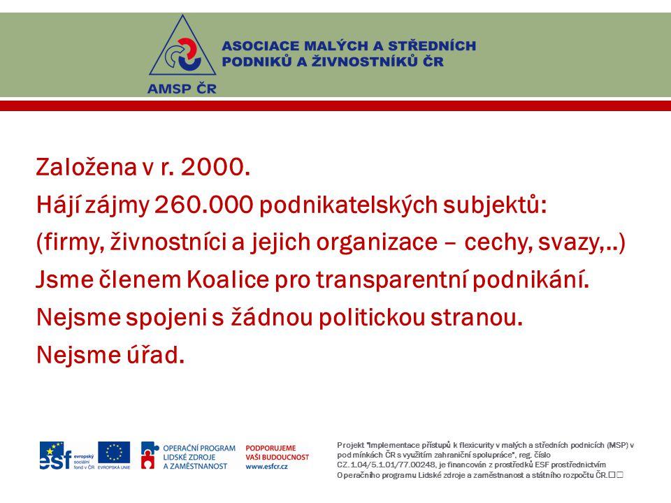 Založena v r. 2000. Hájí zájmy 260.000 podnikatelských subjektů: (firmy, živnostníci a jejich organizace – cechy, svazy,..) Jsme členem Koalice pro tr