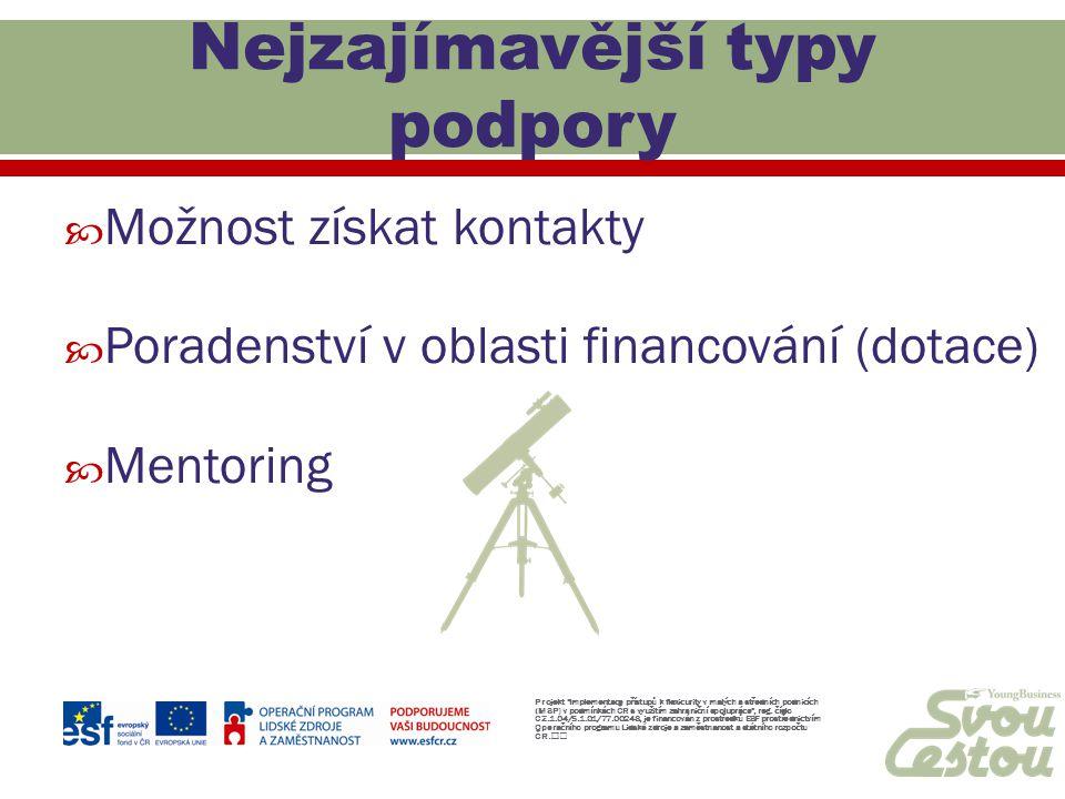  Možnost získat kontakty  Poradenství v oblasti financování (dotace)  Mentoring Projekt