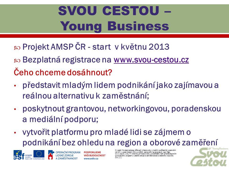  Projekt AMSP ČR - start v květnu 2013  Bezplatná registrace na www.svou-cestou.czwww.svou-cestou.cz Čeho chceme dosáhnout? představit mladým lidem