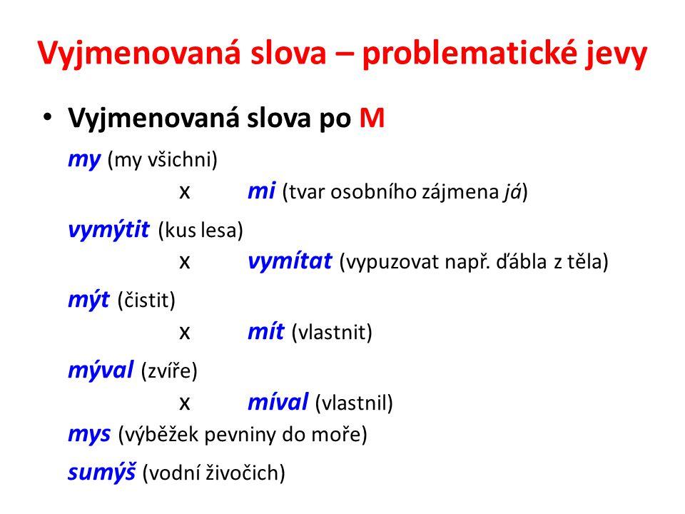 Vyjmenovaná slova – problematické jevy Vyjmenovaná slova po M my (my všichni) xmi (tvar osobního zájmena já) vymýtit (kus lesa) xvymítat (vypuzovat na