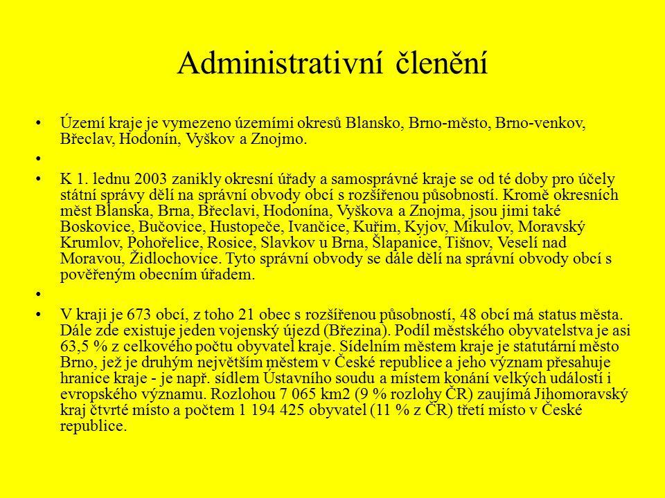 Administrativní členění Území kraje je vymezeno územími okresů Blansko, Brno-město, Brno-venkov, Břeclav, Hodonín, Vyškov a Znojmo.