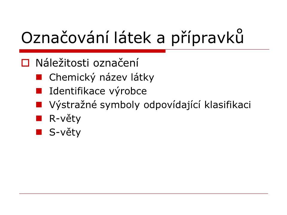 Označování látek a přípravků  Náležitosti označení Chemický název látky Identifikace výrobce Výstražné symboly odpovídající klasifikaci R-věty S-věty