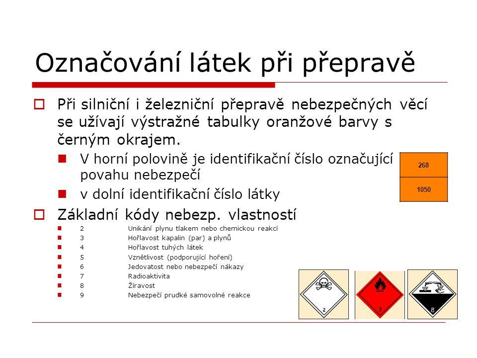 Označování látek při přepravě  Při silniční i železniční přepravě nebezpečných věcí se užívají výstražné tabulky oranžové barvy s černým okrajem. V h