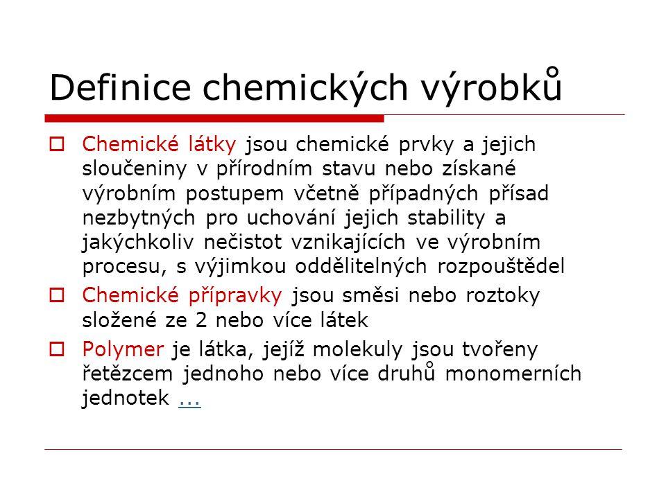 Definice chemických výrobků  Chemické látky jsou chemické prvky a jejich sloučeniny v přírodním stavu nebo získané výrobním postupem včetně případnýc
