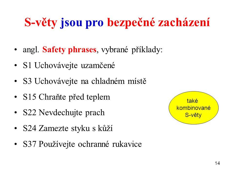 14 S-věty jsou pro bezpečné zacházení angl. Safety phrases, vybrané příklady: S1 Uchovávejte uzamčené S3 Uchovávejte na chladném místě S15 Chraňte pře