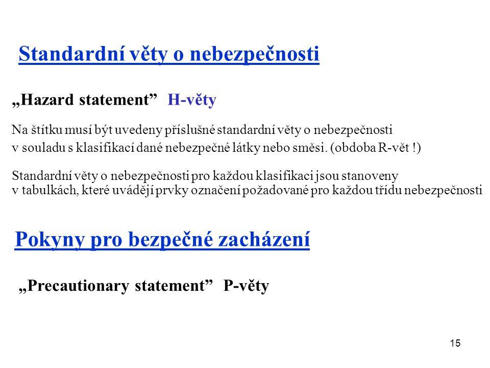 """15 """"Hazard statement"""" H-věty Na štítku musí být uvedeny příslušné standardní věty o nebezpečnosti v souladu s klasifikací dané nebezpečné látky nebo s"""