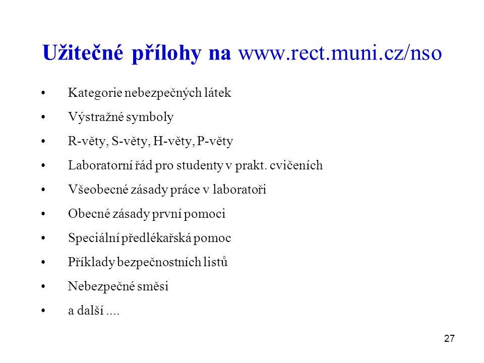27 Užitečné přílohy na www.rect.muni.cz/nso Kategorie nebezpečných látek Výstražné symboly R-věty, S-věty, H-věty, P-věty Laboratorní řád pro studenty