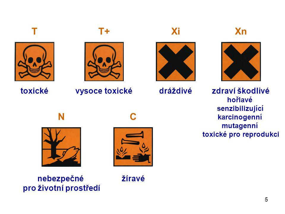 5 toxickévysoce toxickédráždivézdraví škodlivé hořlavé senzibilizující karcinogenní mutagenní toxické pro reprodukci nebezpečné pro životní prostředí žíravé TT+XiXn NC