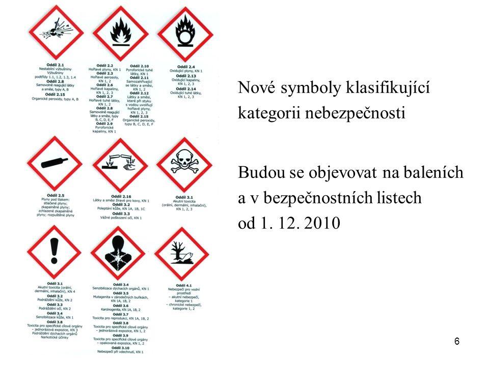 6 Nové symboly klasifikující kategorii nebezpečnosti Budou se objevovat na baleních a v bezpečnostních listech od 1. 12. 2010
