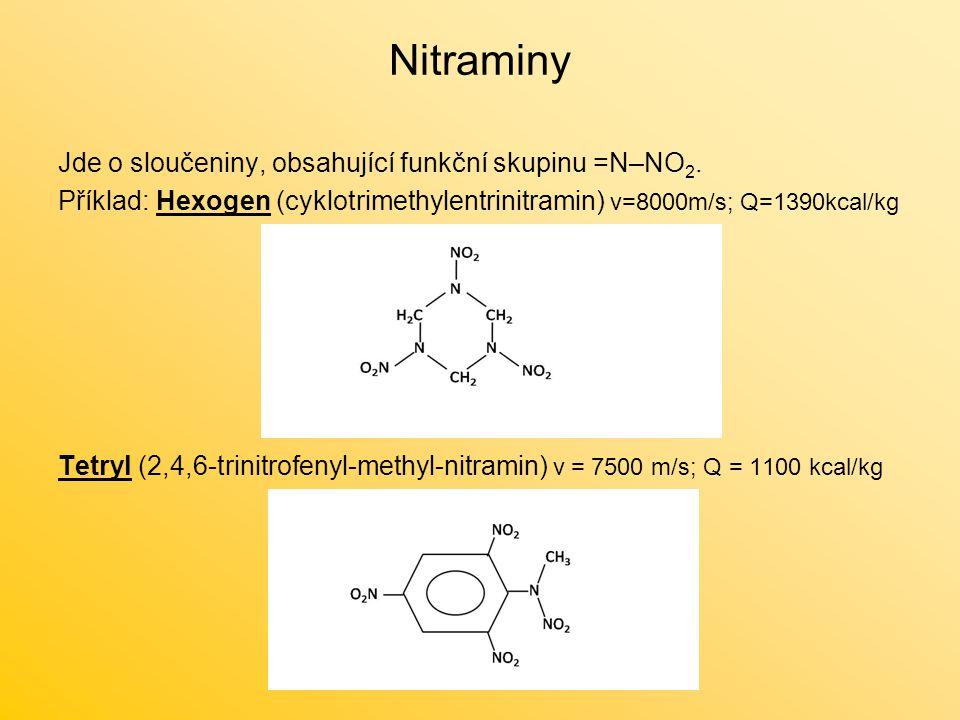 Nitraminy Jde o sloučeniny, obsahující funkční skupinu =N–NO 2.