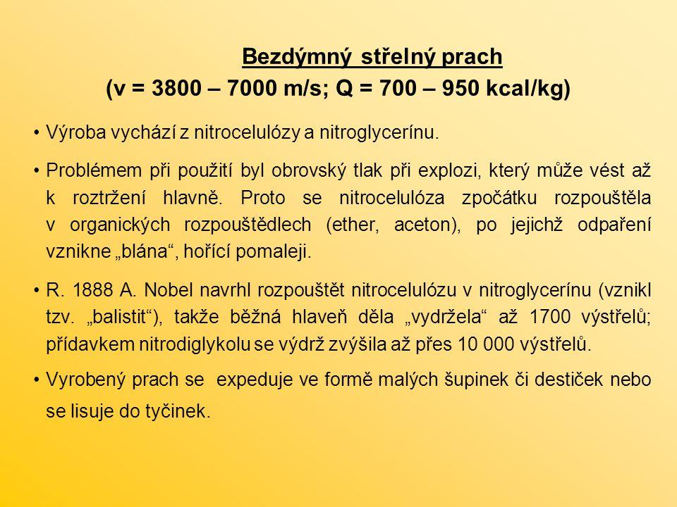 Bezdýmný střelný prach (v = 3800 – 7000 m/s; Q = 700 – 950 kcal/kg) Výroba vychází z nitrocelulózy a nitroglycerínu.