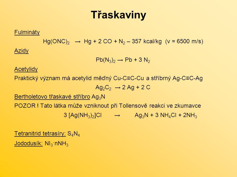 Třaskaviny Fulmináty Hg(ONC) 2 → Hg + 2 CO + N 2 – 357 kcal/kg (v = 6500 m/s) Azidy Pb(N 3 ) 2 → Pb + 3 N 2 Acetylidy Praktický význam má acetylid měďný Cu-C≡C-Cu a stříbrný Ag-C≡C-Ag Ag 2 C 2 → 2 Ag + 2 C Bertholetovo třaskavé stříbro Ag 3 N POZOR .